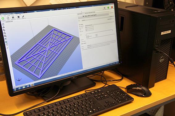 tietokoneen näyttö, jossa tekninen piirros